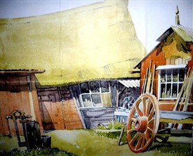 Photo:Painting done in 1942 by Matthew Prater of Bullen's carpenter's workshop
